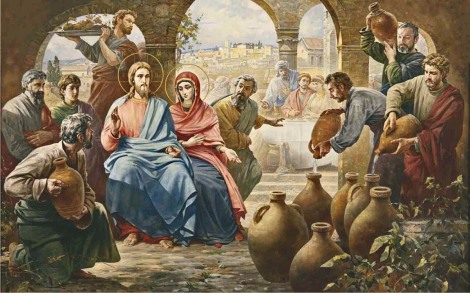 Jesus turns water into wine at the behest of His Blessed Mother Mary.